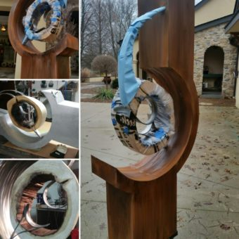 In Progress – steel & wood sculpture