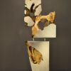Stainless Steel & Burl Wood Sculpture on wood table