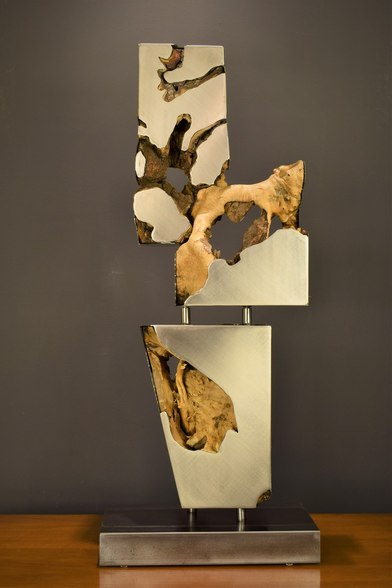 Stainless Steel & Burl Wood Sculpture on wood table