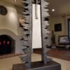 Metal sculpture white italian marble native american