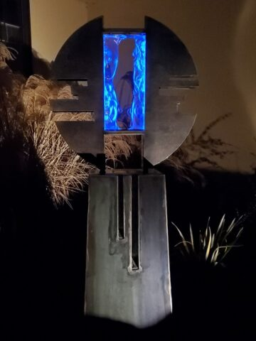 Metal and Lighted Glass Sculpture